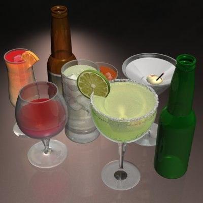 3d model bar drinks cocktail