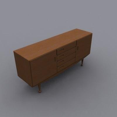 3d model danish modern teak sideboard