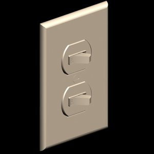 toggle light switch duplex 3d model