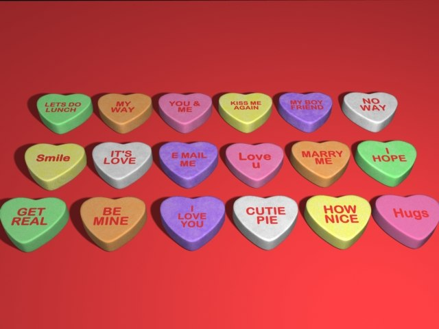 sweetheart candies hearts 3d lwo
