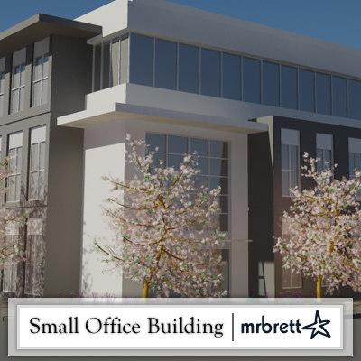 small 3 floor office building 3d model