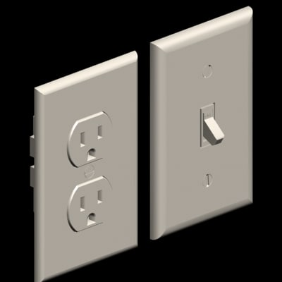 common wall plates duplex outlet 3d model