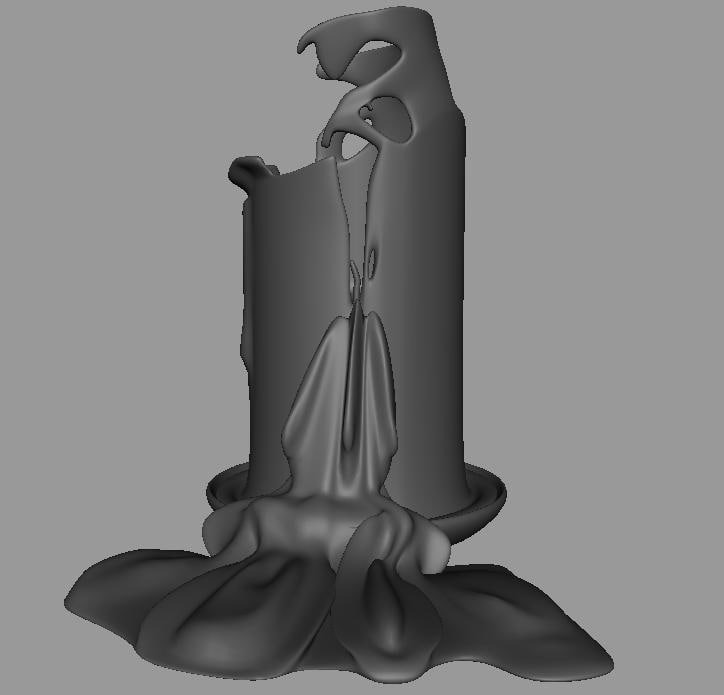 melting candle 3d model