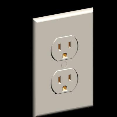 duplex outlet wall plate 3d model