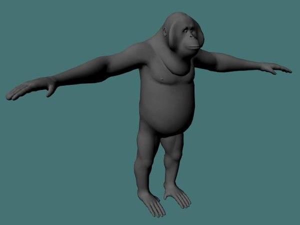 3ds orangutan primate