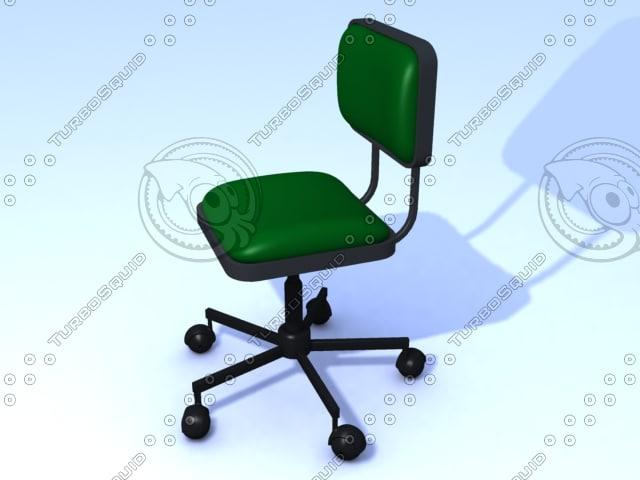 3d max green swivel chair