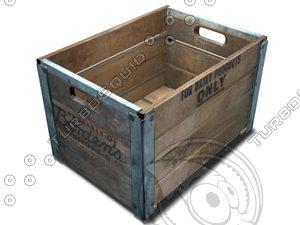 milk crate wooden 3d model