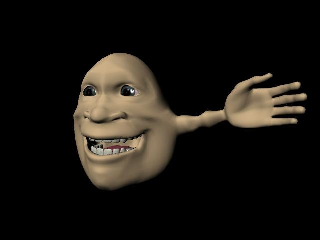 3d silly character face head