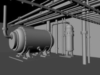 3d boiler room pipes