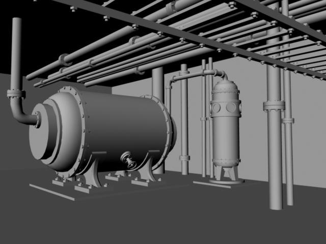 3d boiler room pipes