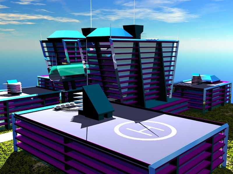futuristic hospital 3d model