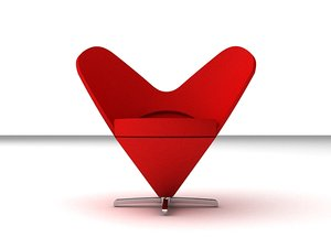 3d model heart cone chair panton