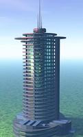 3ds max futuristic highrise building