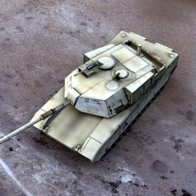 3d model m1a1 battle tank military