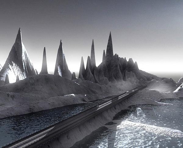 3d model realistic mountain road