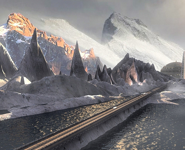 3d realistic mountain road lake model