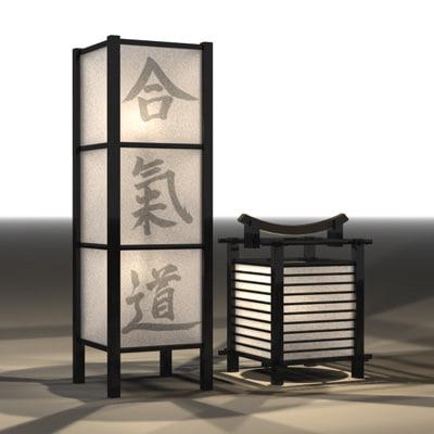 Japanese Lamps 3d Model