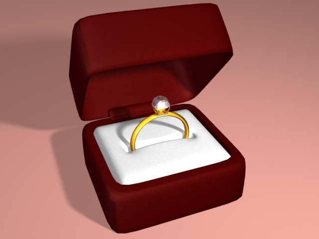 engagment ring box open 3d model