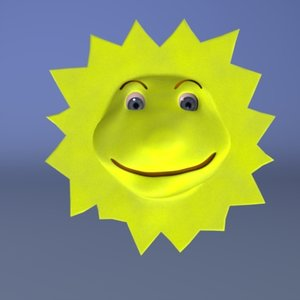 3d model cartoon sun