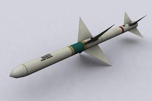 aim-7 sparrow missile design 3d model