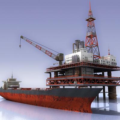oil rig tanker 3d model