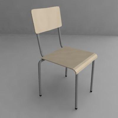 3d school chair model