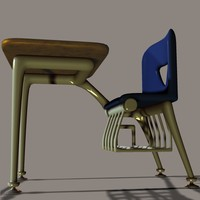 piece school desk 3d model