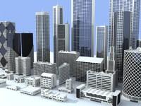 3d 30 buildings skyscrapers structures model