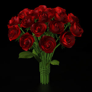 3d model rose bouquet