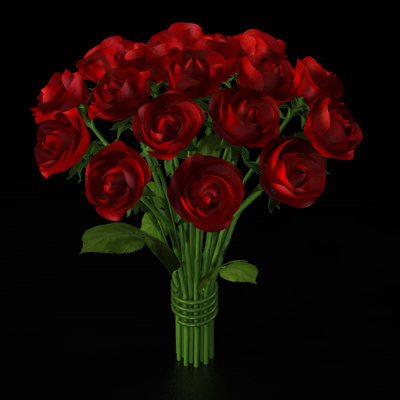 3d model rose bouquet