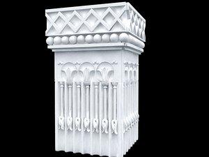 3d column capitel colum square model