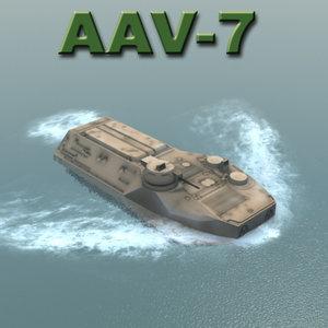 aav-7 vehicle military marine corps 3d model
