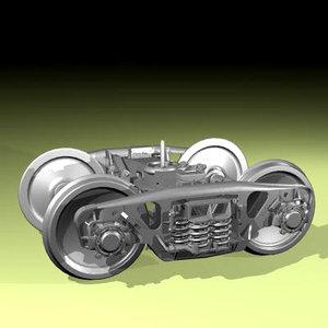 bogie wagon modelled 3d max