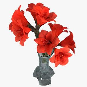 3d amaryllis hippeastrum flowers