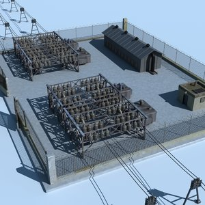 power substation buildings electricity 3d model