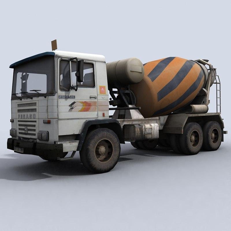 concrete cement mixer truck 3d model
