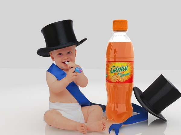 juice bottle publicity baby 3d max