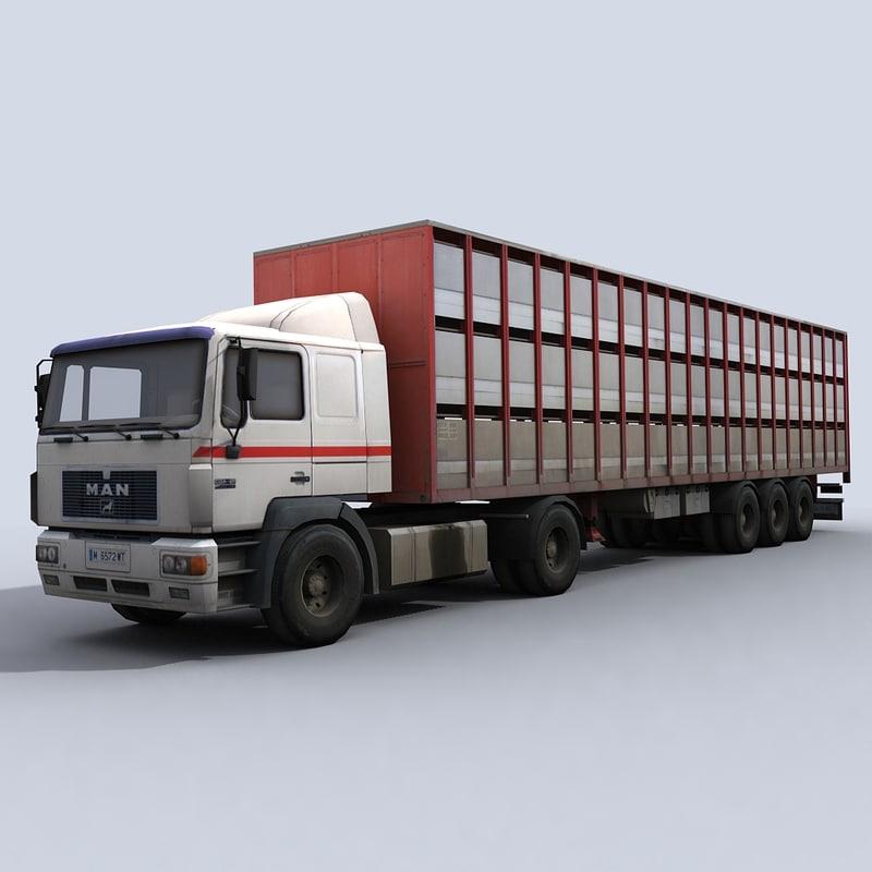 cattle transport truck 3d model