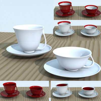 3d acups saucers cups