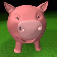 3d piggy animations model