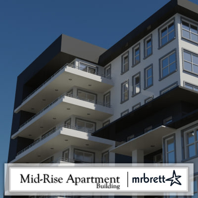 mid-rise luxury apartment building 3d dxf