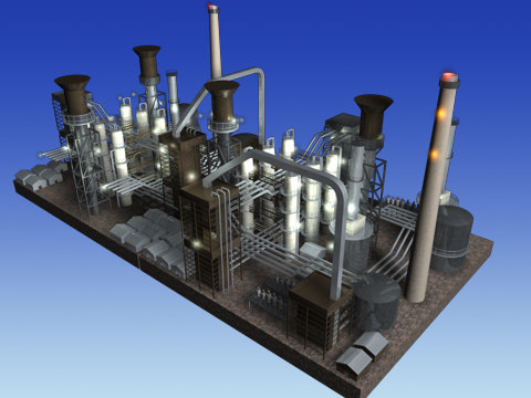 rafinery industry scene 3d c4d