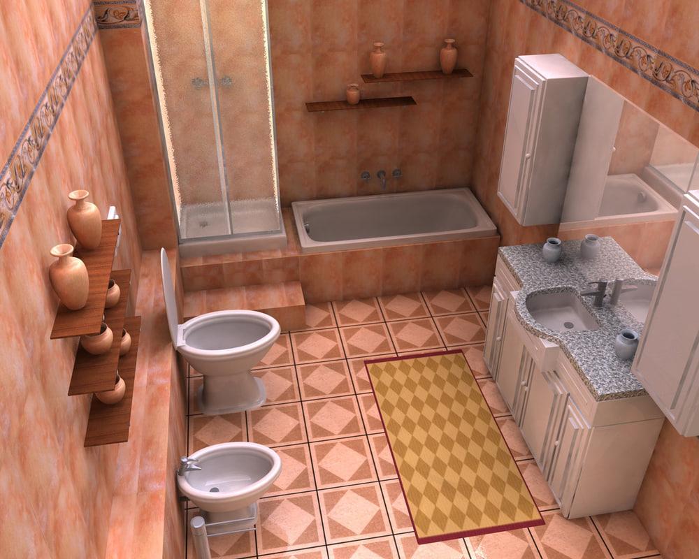 3d bathroom room model