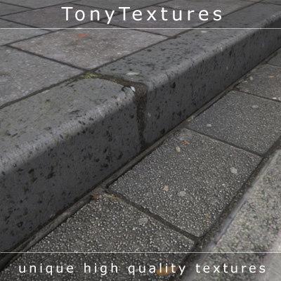 curbstones gutter sidewalk pavement 3d model