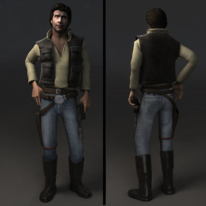 rigged han solo character biped 3d model
