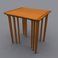 danish modern nesting tables 3d model