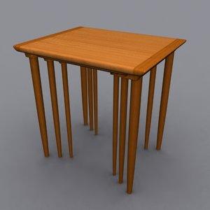 danish modern nesting tables 3d model