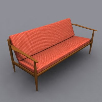 danish modern couch 3d model