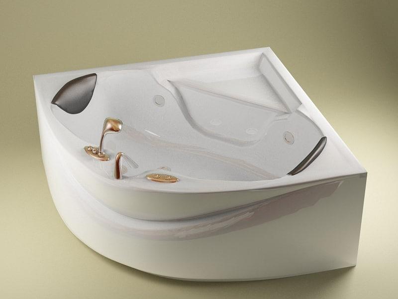 angular bath jets modelled 3d model