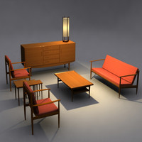 danish modern livingroom set 3d model
